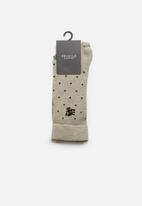 Pringle of Scotland - Logan dot & check 2 pack socks - beige
