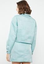 Missguided - Check dogtooth jacket - turquoise
