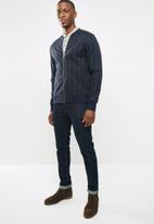 Jack & Jones - Striped bomber - navy & grey