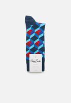 Happy Socks - Optic square socks - blue & red