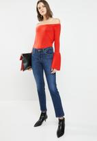 Brave Soul - Bardot jersey with flared sleeve - red