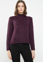 Jacqueline de Yong - Justy long sleeve roll edge pullover - purple