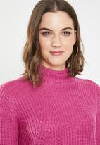 Jacqueline de Yong - Justy long sleeve roll edge pullover - pink