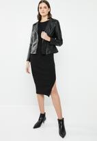 Brave Soul - Biker jacket with detachable faux fur trim - black