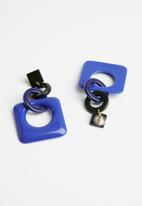 Superbalist - Resin square link earrings - blue