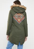 Brave Soul - Parka with trim detail - khaki