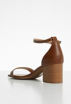 Call It Spring - Faux leather ankle strap block heel - brown