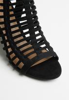 Call It Spring - Faux suede laser cut block heel sandal - black