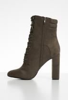Call It Spring - Faux suede lace-up mid-calf boot - brown