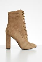Call It Spring - Faux suede lace-up mid-calf boot - tan