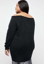 STYLE REPUBLIC PLUS - Slouch off shoulder sweater - black