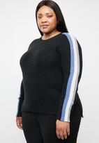 STYLE REPUBLIC PLUS - Rainbow stripe jersey - black
