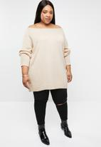 STYLE REPUBLIC PLUS - Slouch off shoulder sweater - neutral