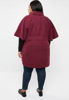 STYLE REPUBLIC PLUS - Flutter sleeve coat - burgundy
