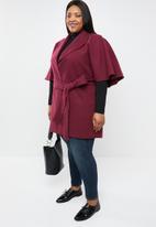 STYLE REPUBLIC PLUS - Flutter sleeve coat - burgundy