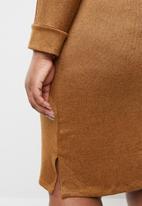 STYLE REPUBLIC PLUS - Necktie detail knit dress - tan