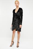 dailyfriday - Puff sleeve wrap dress - black