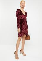 dailyfriday - Puff sleeve wrap dress - burgundy