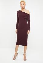 dailyfriday - One shoulder bodycon - burgundy