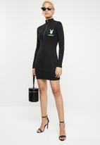 Missguided - Playboy zip front ribbed mini dress - black