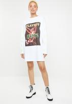 Missguided - Playboy magazine print long sleeve shirt dress - white