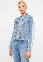 ONLY - Chris long sleeve tape denim jacket - blue