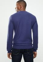 POLO - Crew neck heavy pique pullover - blue