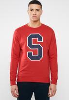 Superbalist - Applique crew pullover sweat - red
