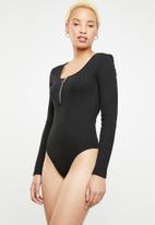 Missguided - Zip front scoop neck bodysuit - black