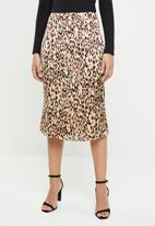 Missguided - Animal print midi skirt - neutral & brown
