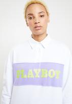Missguided - Playboy neon slogan rugby dress - white
