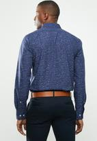 POLO - Signature long sleeve custom fit shirt - navy