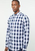 POLO - Signature custom fit shirt - navy & white