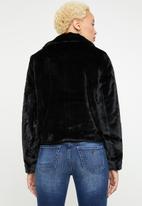 ONLY - Britt faux fur biker jacket - black