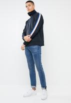 Mennace - Tricolour tape tricot knit tracksuit top - navy