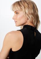 Cotton On - Nellie mock neck velvet rib tank  - black