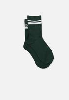 Cotton On - Retro rib crew socks - green