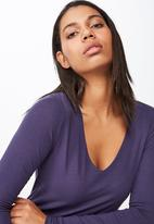 Cotton On - Everyday long sleeve v - purple