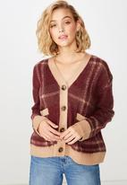 Cotton On - Kate brushed cardigan  - burgundy & beige