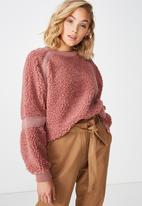 Cotton On - Teddy batwing pullover  - pink