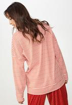 Cotton On - Long sleeve drop shoulder jersey - red & white