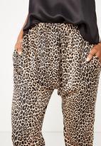Cotton On - Satin drop crotch pant  - black & beige