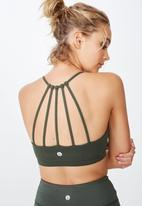 Cotton On - Essential strappy sports crop  - khaki