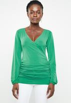 edit - Cross over long sleeve top - green