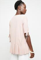 edit - Button down peplum blouse - pink