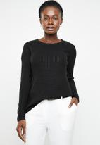 edit - Essential ribbed round neck jersey - black