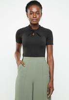 edit - High neckline short sleeve top - black
