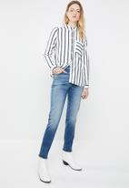 ONLY - Sugar long sleeve shirt - white & navy