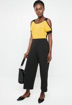 edit - Cold shoulder top - yellow & black