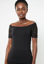 edit - Lace detail T-shirt - black